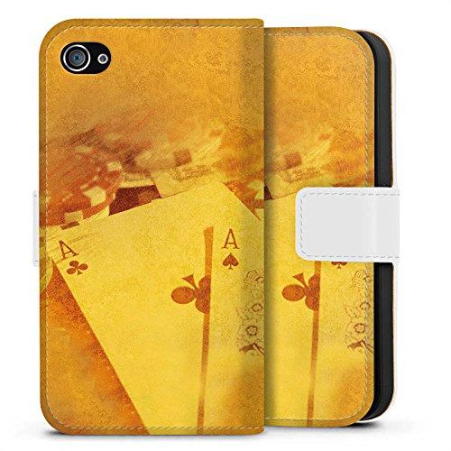 Apple iPhone X Silikon Hülle Case Schutzhülle Karten Poker Casino Sideflip Tasche weiß