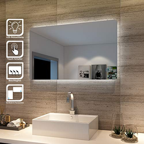 Badspiegel Lichtspiegel LED Spiegel Wandspiegel mit Touch-Schalter 100 x 60cm kaltweiß IP44 energiesparend beschlagfrei -