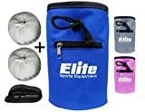 Elite Sportz Equipment Juego de Bolas de Tiza con 2 Bolas de Tiza de Carbonato de Magnesio 100% Natural y Bolsa de Tiza para Escalada, Gimnasia, Levantamiento de Pesas y Más (Azul)