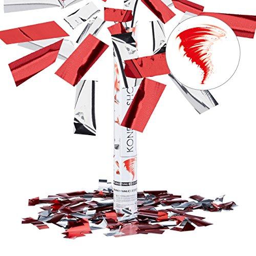 Relaxdays 10021767 Partypopper 40 cm, Rot-Silber Preisvergleich