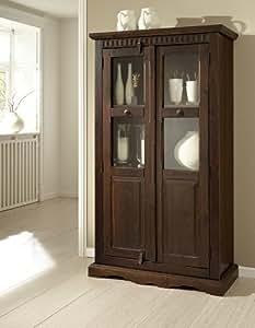 delhi vitrine mit holz und glast ren kolonialstil massivholz pinie k che haushalt. Black Bedroom Furniture Sets. Home Design Ideas
