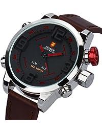 Herrenuhr Digital Analog ZEIGER Sportlich Uhr Braun Leder Armbanduhr Herren Quarzuhr LED Licht W296