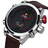 KZKR Herren Armbanduhr Braun Digital LED Analog Quarz Uhr Leder Armband Datum Tag Licht Wecker (rot)