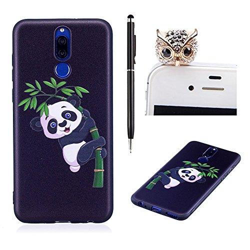 SKYXD pour Huawei Mate 10 Lite,Coque pour Huawei Mate 10 Lite, Flex Silicone Noir Panda Bambou Modèle Motif Étui 3D Conception Fantaisie Effet Relief Ultra Mince Premium TPU Soft Slim Case