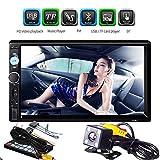 Velidy, autoradio con touch screen LCD da 7', doppio DIN, con supporto Bluetooth, Mirror Link, ricevitore FM, con porta USB/AUX-in/TF, telecamera di retromarcia + telecomando + touchscreen