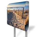 banjado - Standbriefkasten mit Zeitungsrolle Edelstahl Standfuß 38x150x12cm mit Motiv Nordseestrand