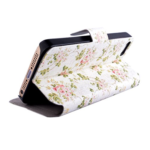iPhone 5 Copertura,iPhone 5S Custodia, iPhone SE case,iPhone 5 cover,Floreale flowers PU Flip di portafoglio in pelle Case per iPhone 5/5S/SE -colour colour1