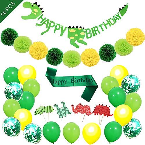 saurier Geburtstag Dekoration Set für Jungen Mädchen, Happy Birthday Girlande, 24 Cupcake-Topper, 1 Geburtstag Satin Schärpe, 9 Pompom Bälle, 20 Ballons für Kinder Deko Geburtstag ()