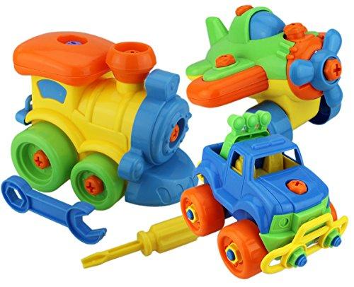 Preisvergleich Produktbild GYD 3Pcs Schraubenspiel Montage Baufahrzeuge Spielzeug Set Wagen ab 3 jahren jungen Auto Pädagogisches Spielzeug Lockomotive Motorrad Auto Flugzeug uvm.