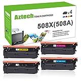 Aztech 4 Toner Compatible pour HP 508A 508X CF360X CF361X CF362X CF363X Toner pour HP Color Laserjet Enterprise M553N M553DN M552DN MFP M577 M553 M557 M553X M577F HP M552 Toner