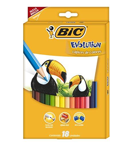 BIC Kids Evolution ECOlutions Lápices para Colorear – colores Surtidos, Blíster de 18 unidades