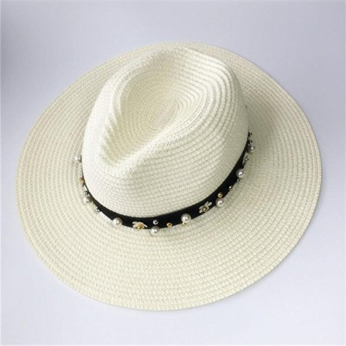 er Hats For Women Sun Hat Leather Gold Chain/Belt/Flower/Rivet Floppy Beach Wide Brim Straw Panama Hat Female Cap 2017 [White 12 ] (Mad Hatter Hut Ideen)