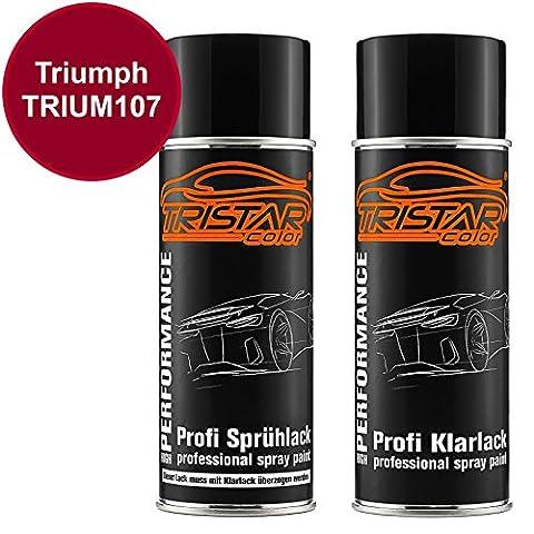 Motorradlack Spraydosen Set Triumph TRIUM107 Candy Apple Red Metallic Basislack Klarlack Sprühdose 400ml
