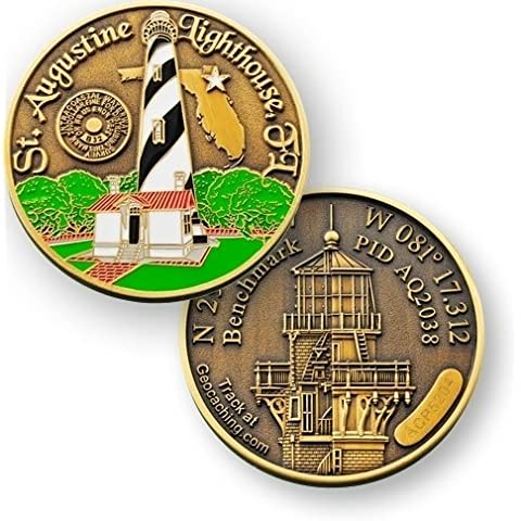 C39 - St Augustine light house Bench Mark Geocoin Geocaching Trac cavo Coin, Tag, TB, Coin, Coins, con Travelbug