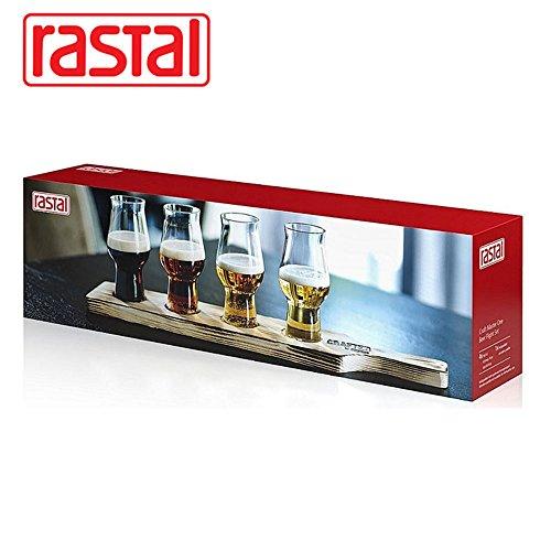 Rastal Beer Flight Set 4x0,195l + Tasting-Brett