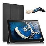 ELTD Lenovo Tab 2 A10-30 Hülle Case - Ultra Schlank Smart Cover Tasche Schutzhülle Case für Lenovo Tab 2 A10-30 mit Standfunktion, Schwarz