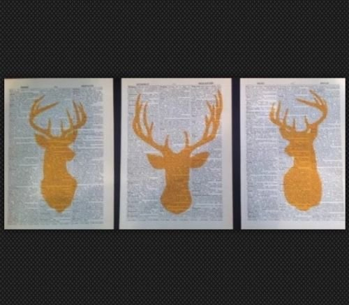 3-x-stag-deer-heads-vintage-prints-pictures-original-dictionary-page-art-yellow-silhouette
