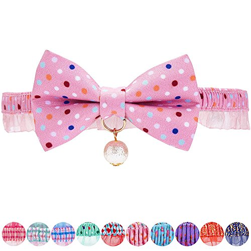 Blueberry Pet Pack of 1 Ultra Pink Polka Dot Breakaway Bowtie Cat Collar Lace Choker Necklace with Handmade Bow Tie and Pearl Charm, Safety Elastic Stretch Collar for Cats, Neck 21.5cm-30cm