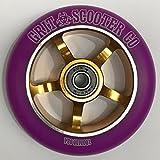 Grit 5 Spoke Stunt Scooter Wheel - 100mm - Purple on Gold