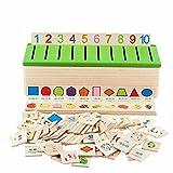 FunnyGoo Holz Lernkarte Sortierbox mit grüner Kunststoffabdeckung, 8 Sortierung Kategorien: Gemüse, Figuren, Früchte, Formen, Fahrzeuge, Bedarfsartikel, Tiere, Kleidung