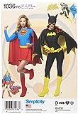 Simplicity 1036Super de Mujer patrón de Costura para niña y Disfraces de Batgirl, Color Blanco, R5(14–16–18–20–22)