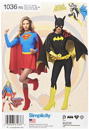Simplicity Schnittmuster 1036Damen Super Girl/und/Batgirl Kostüme Schnittmuster, weiß, R5(14-16-18-20-22)