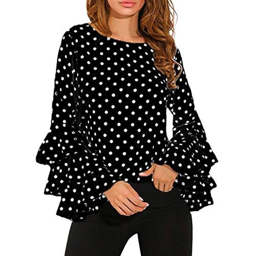 Top da donna camicia a pois ampia camicetta casual da donna campana camicia a maniche lunghe giacca eleganti donne