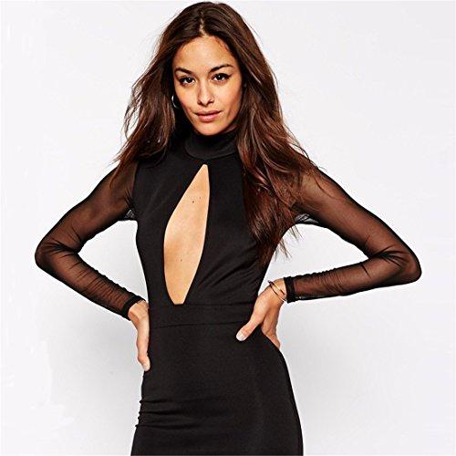 QIYUN.Z Les Femmes Maille Noire a Manches Longues Ventre Tenue Paquet Clubwear Sexy Robe De La Hanche Noir