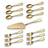 Berglander Gold Titan Überzogene Edelstahl Kuchen Serving Set, Kuchen Tortenheber, Kuchengabel, Teelöffel Pack von 13