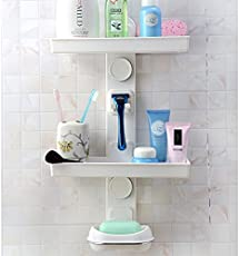 Diswa Plastic Bathroom Organizer with Wall Mounted Suction Cup(Multicolour, 9.1x18.9x8.4cm)
