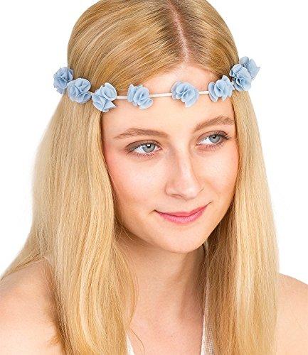 SIX Blumen weißes elastisches Blumen Blüten Rosen Haarband Kopfband Blumenkranz Haarschmuck mit Chiffon in zartem hell blau Pastell (456-255)