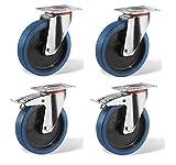 Roues-et-Roulettes.com Juego de 4 ruedas, 2 pivotantes con freno y 2 pivotantes, montura de chapa de acero tratado con zinc, diámetro 100 mm, forrado