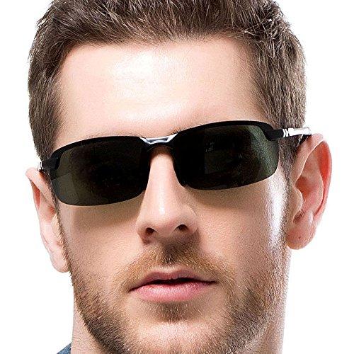 Sportbrille Fahrerbrille Sonnenbrille mit UV400 Schutz Herren Damen Fahrradbrille Metallrahmen TAC Polarisierte Linse Sportsonnenbrille Outdoor Sport Brille für Autofahren Radsport Fahrrad Angeln Golf