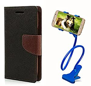 Aart Fancy Diary Card Wallet Flip Case Back Cover For Micromax A105 - (Blackbrown) + 360 Rotating Bed Tablet Moblie Phone Holder Universal Car Holder Stand Lazy Bed Desktop for by Aart store.