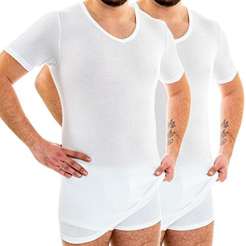 HERMKO 164887 2er Pack Extralanges Herren Shirt mit V-Ausschnitt aus Baumwolle/Modal (+10 cm) Unterhemd, Größe:D 7 = EU XL, Farbe:Graphit - Modal-unterhemd