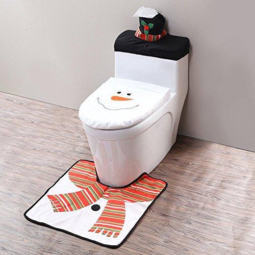 Zogin Juego de 3 decoración de Navidad con la forma de muñeco de nieve en tela para tapa del inodoro WC, tapa del tanque y alfombra de baño