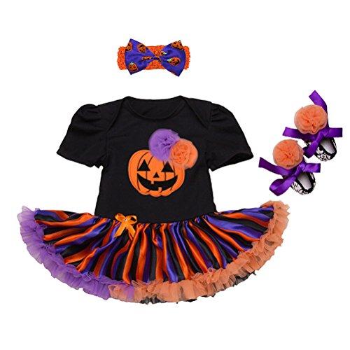 Zhhlaixing Halloween-Muster Spielanzug-Kleid für Säuglingsbaby Mädchen Baumwolle Atmungsaktiv Tutu Rock Kleidung Party Kleider (Kleid Muster Halloween)