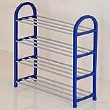 Cfbcc Shoe Rack 4 Strati Verticali Ospita 20 Paia di Scarpe Nero Blu Bianco 57 * 19 * 57 Centimetri (Colore: Blu) (Color : Blue)