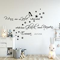 Wandschnörkel® Aufkleber HM~AA136 Wenn aus Liebe Leben wird...Wand Spruch Wandtattoo Kinderzimmer Baby Mädchen Jungen Namen Türaufkleber, personalisiert (jetzt auch in zarten Pastellfarben)