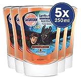 Sagrotan No-Touch Kids Nachfüller Spaßmacher Grapefruit - Für den automatischen Seifenspender - 5 x 250 ml Handseife im praktischen Vorteilspack