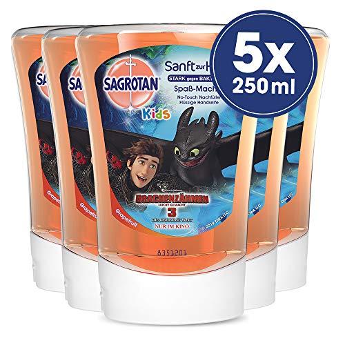 Sagrotan No-Touch Kids Nachfüller Spaßmacher Grapefruit, 5er Pack (5 x 250 ml) (Duft Frei Feuchtigkeitsspendende Seife)