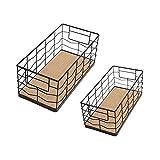 2 ceste portaoggetti in metallo e filo metallico multiuso cestino per il pane cestino da cucina cesto portaoggetti in metallo rivista post scale Box Vintage metallo Mesh