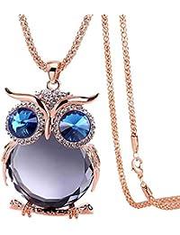 TONVER Cristal Collier, plaqué Argent Vintage Pendentif Chouette Pull  Décoration Bijoux Tendance Collier Long pour 404d566ea130