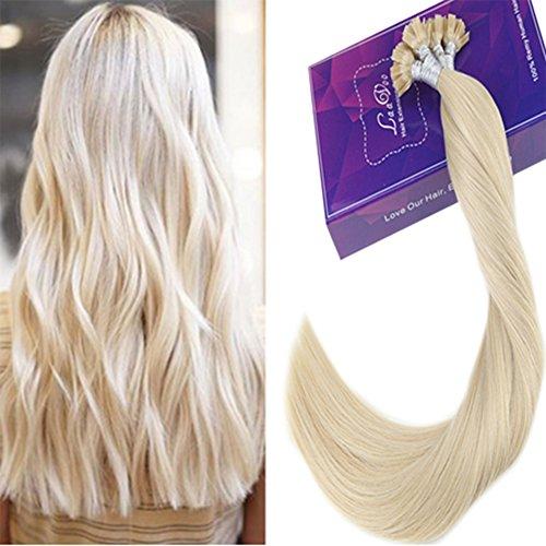 Laavoo 18 pollici flat tip extension keratina capelli veri bionde platino #60 allungamento capelli cheratina brasilian lisciante 1gr*50ciocche