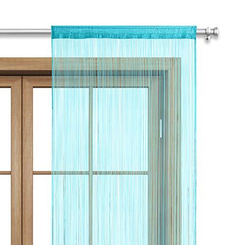 WOMETO Fadenvorhang Türvorhang 90x245 Stangendurchzug Schlaufe - waschbar (türkis)