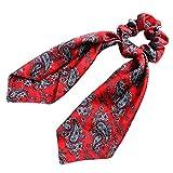 RUDA - Fascia per capelli da donna, in finta seta, con fiocco, motivo cachemire