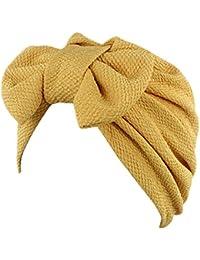 iShine Inde Bouchon de Turban Chapeau Musulman Turban Femme Elastique avec  Grand Nœud à Deux Boucles b124a00ee11