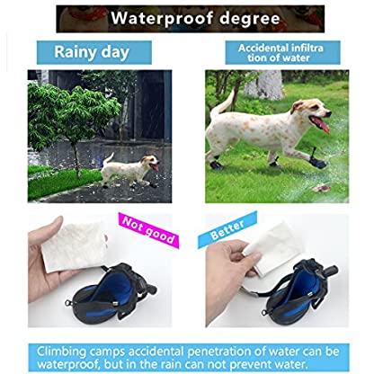 PetPi 4pcs x Paw Protector Blue Dog Shoes Waterproof + Anti-slip Rubber Sole with Reflective Velcro for Yorkshire… 5