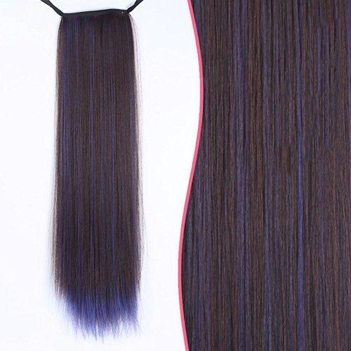Girl Perücke Pferdeschwanz Langes glattes Haar in eine Perücke Simulation-gebundenen Pferdeschwanz-K