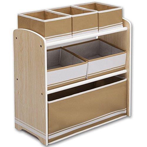Kinderregal - Standregal - Spielzeugregal - Aufbewahrungsregal 6 Boxen mit Farbauswahl (natur/weiß)